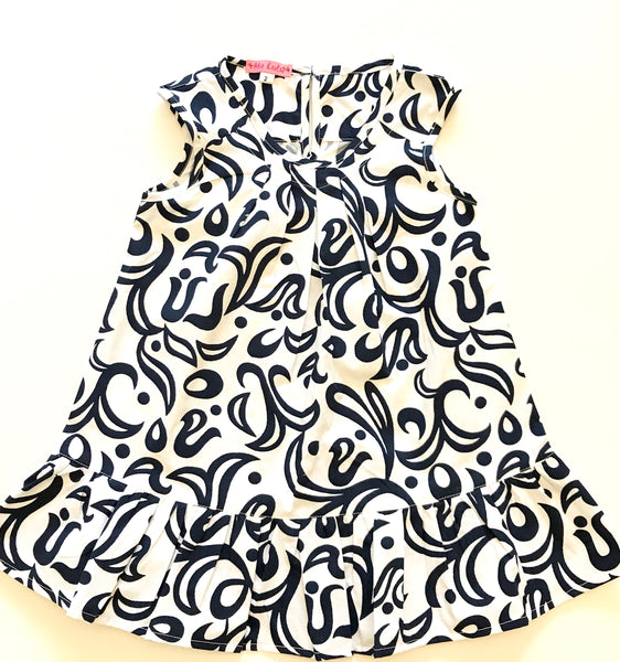 White dress with navy print cotton summer dress