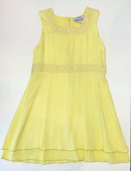 Yellow fitted skater dress