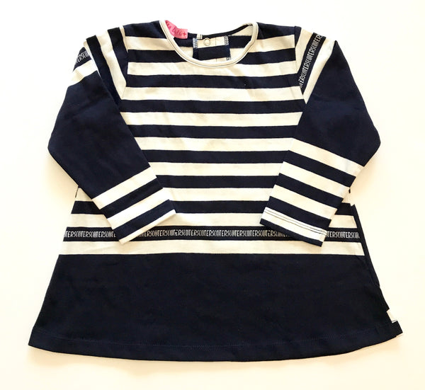 Navy stripe long sleeve dress cotton jersey