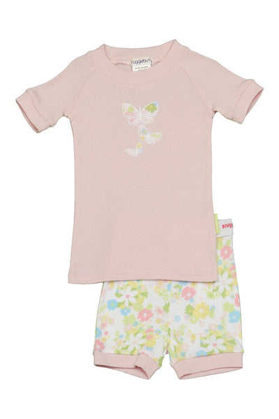 Snugglebum girl floral butterfly pink short john