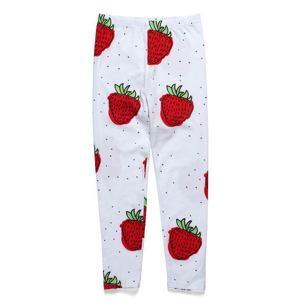Little Horn Strawberry leggings white