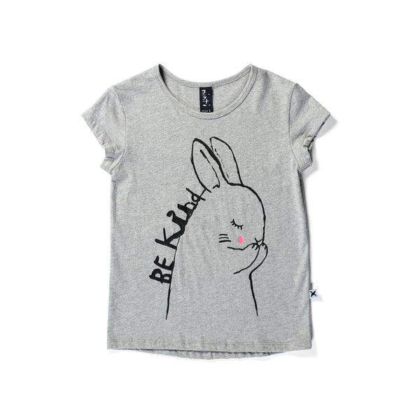 Minti capped tee be kind bunny grey marle