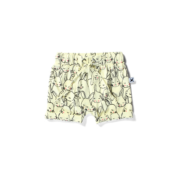Minti baby slouch shorts sleepy bunnies lemon