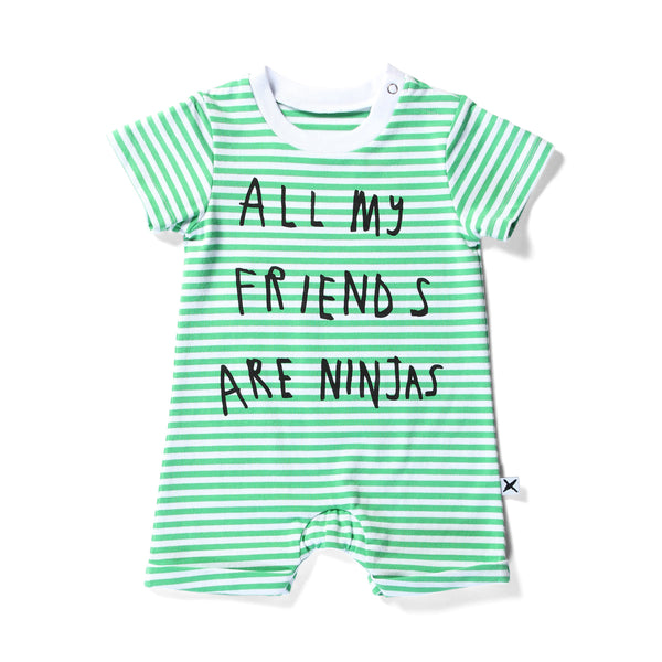 Minti baby brooklyn jumpsuit my friends green stripe