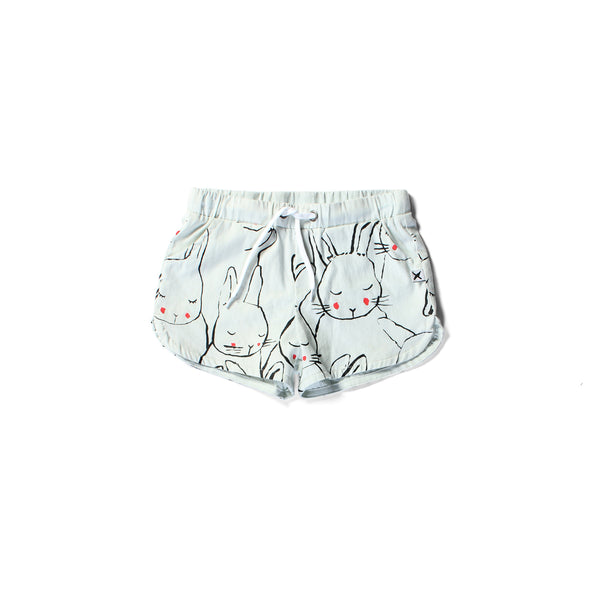 Minti chambray short sleepy bunnies powder blue