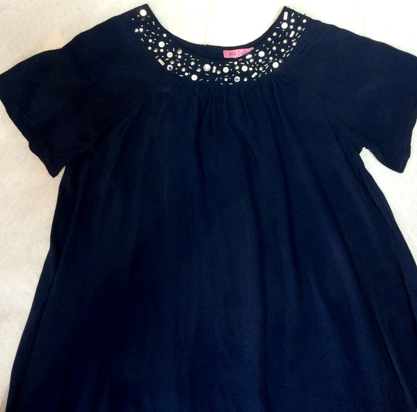 Navy party dress with beading