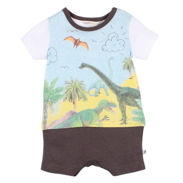 Fox and Finch Baby Denver Dinosaur romper