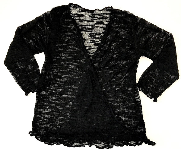 Black knitted wrap around cardigan