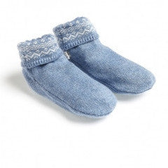 Purebaby knitted booties alpine blue