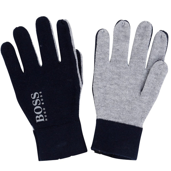 Hugo Boss navy and grey knitted gloves