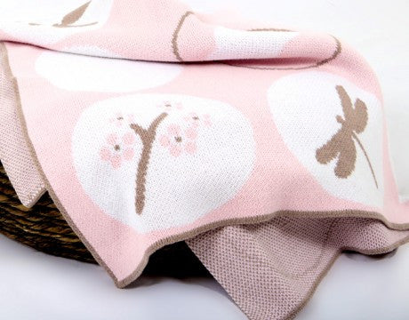 Dulcie and Banana cotton blanket Pink Blossom