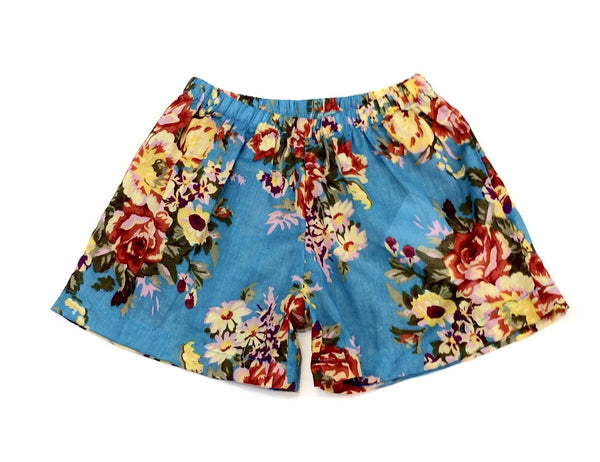 Girls floral printed cotton voile shorts vintage blue