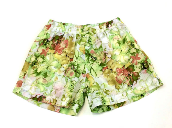 Girls floral printed cotton voile shorts green