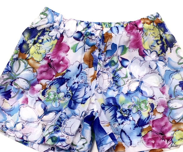 Girls floral printed cotton voile shorts