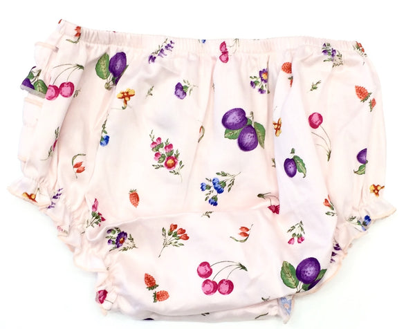 Pale pink printed bloomers with fruits