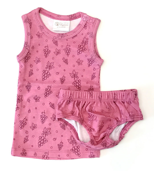 My Little Organics grape singlet and bloomer set