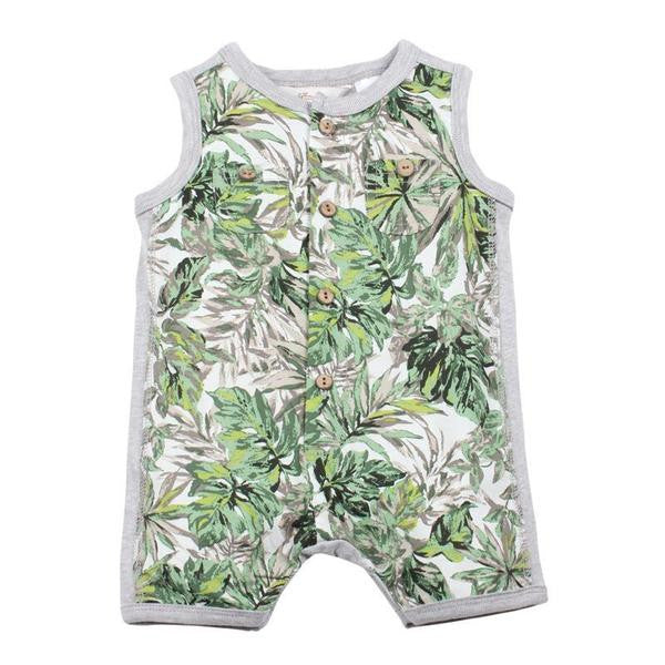 Fox and Finch Baby Tropical leaf print romper