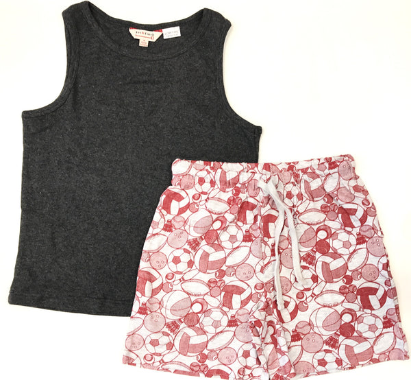 Singlet top and shorts pyjamas grey with printed shorts