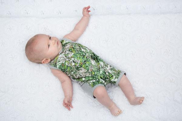 Fox and Finch baby leaf print tropical sleeveless romper