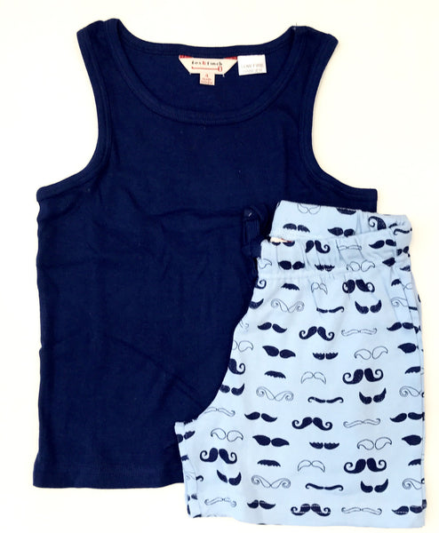 Singlet top and shorts pyjamas navy with printed shorts