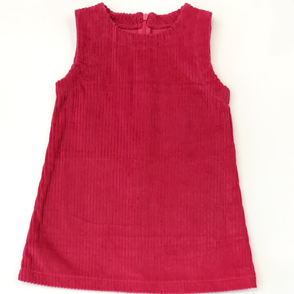 Pink bubble cord pinafore dress