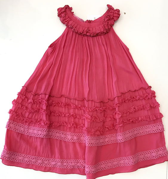 Pink lace frill detail dress
