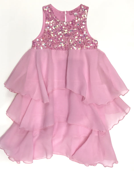 Sequin yoke party dress light pink