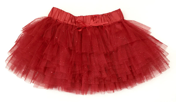 Red sparkle tulle skirt