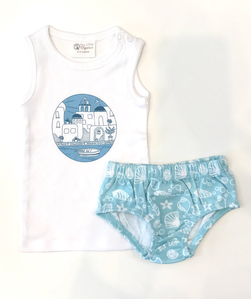 My Little Organics santorini singlet and bloomer set