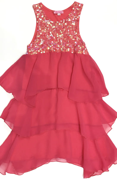 Sequin yoke party dress tangerine pink