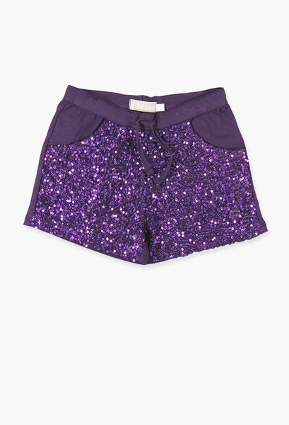 Boboli purple sequin shorts