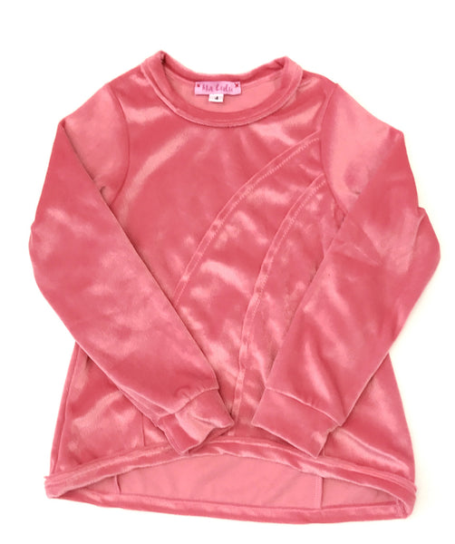 Velour musk pink long sleeve top with dipped hem