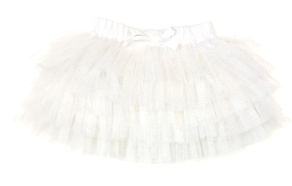 White sparkle tulle skirt