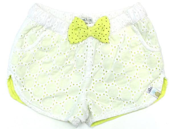 IKKS white lace shorts with citrus bow