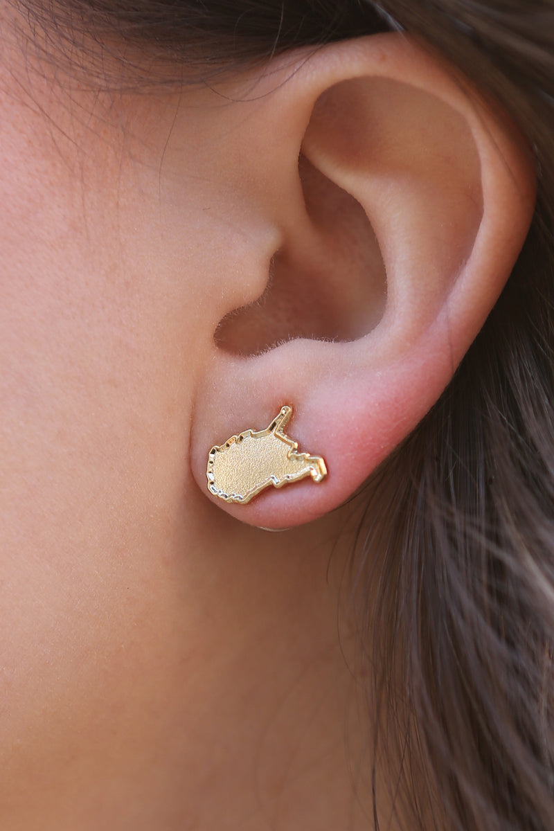 mountain state earrings, gold
