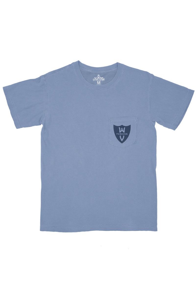 persevere pocket tee, blue