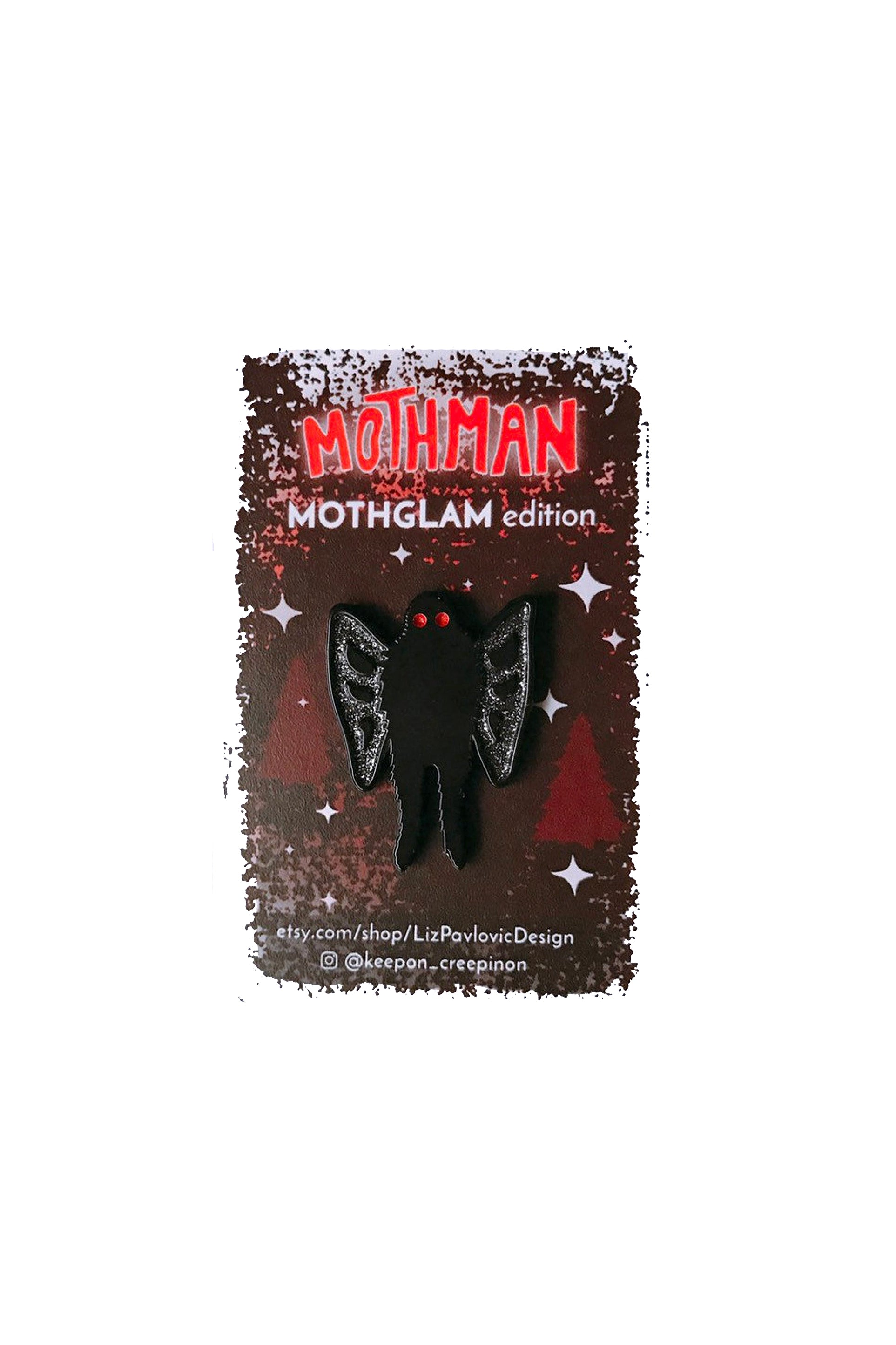 glam mothman enamel pin