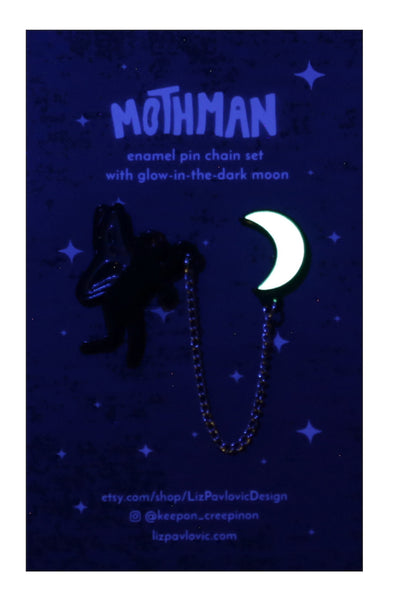 mothman moon pin set