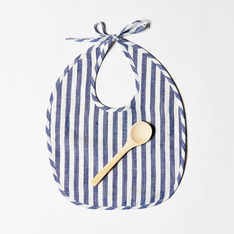 Linen Bib or Set - Indigo Stripe