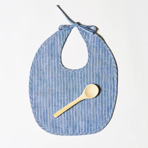 Linen Bib or Set - Indigo + White Pinstripe
