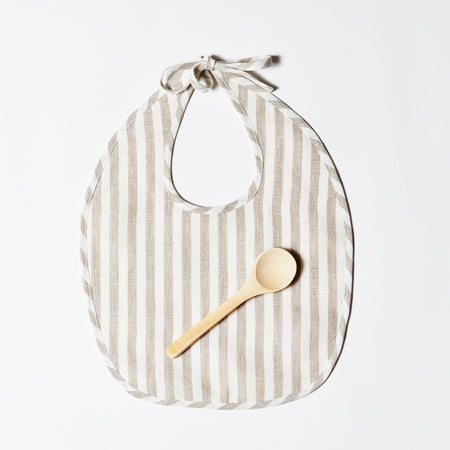 Linen Bib or Set - Taupe + White Stripe