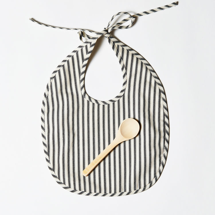Linen Bib or Set - Ticking Stripe
