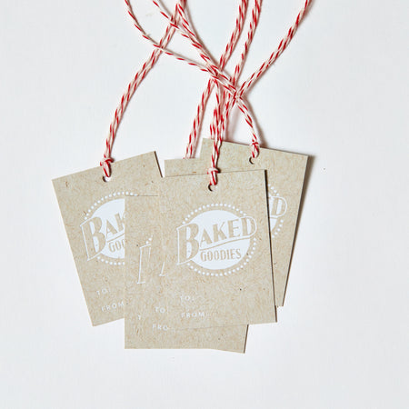 Set of 6, White Foil Printed Gift Tags - Baked Goodies