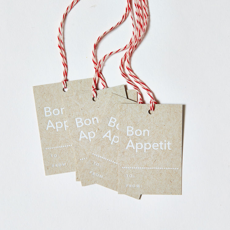 Set of 6, White Foil Printed Gift Tags - Bon Appetit