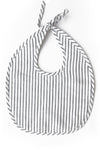 Linen Bib or Set - Charcoal Stripe
