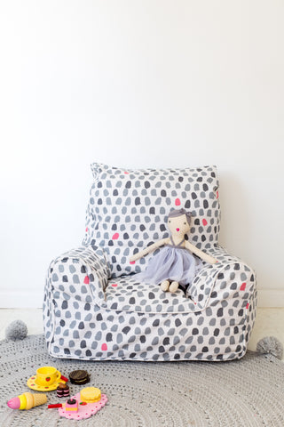 Lelbys bean chair - splotches grey & pink - Neapolitan Homewares