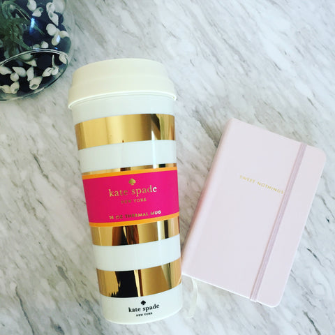 Gift Set: Kate Spade Set with Gold Stripe Thermal Mug & Medium Notebook