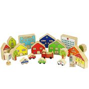The Busy Village - wooden city blocks - Neapolitan Homewares