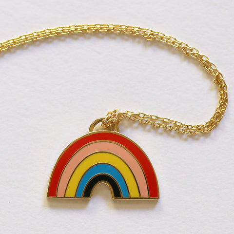 Yellow Owl Necklace - Rainbow
