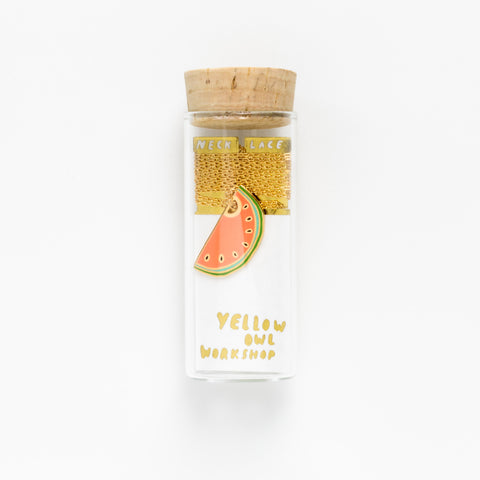 Yellow Owl Necklace - Watermelon